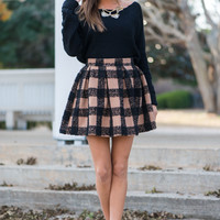 Plaid And Simple Skirt, Tan/Black