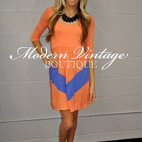 Apricot and Lavender 3/4 sleeve short dress - Modern Vintage Boutique
