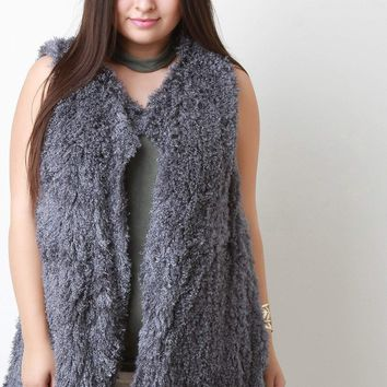 Open Front Shearling Vest