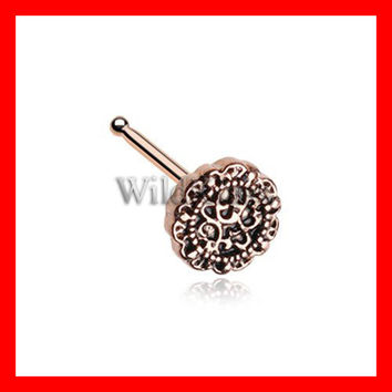 Rose Gold Mandela Filigree Icon Nose Stud Ring 316L Surgical Steel Tiny Nose Stud Nose Ring Piercing Jewelry Cute Flower