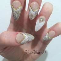 Gold and white marble pearl glitter false nails