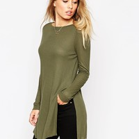 ASOS Tunic Top With Side Split And Long Sleeves