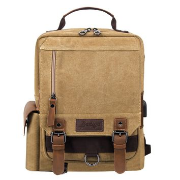 Badiya Vintage Men Backpack USB Charging Connect Luxury Brand Canvas Travel Shoulder Bag Large Capacity Laptop Backpacks Solid