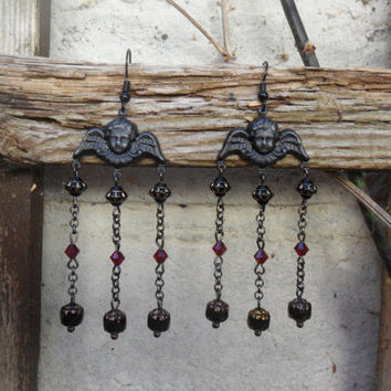 Black cherub chandelier earrings, matte black cherubs, black gold and red Czech beads, gunmetal chain, black angel earrings; goth romantic