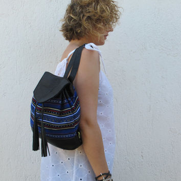 Ethnic backpack with tassels handmade of black leather and traditional woven fabric in blue Crete-BP 01B NEW