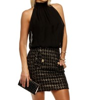 Sale-black Chiffon Lurex Dress