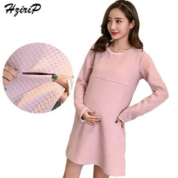 HziriP Maternity Dress New 2017 Autumn Winter Casual Loose Long-sleeve Pregnant Breastfeeding Dresses Women Nursing Clothes