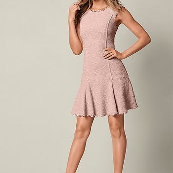 Peach Textured Flare Dress | VENUS