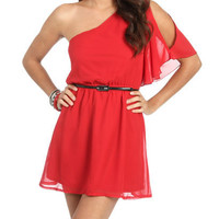 One Shoulder Chiffon Dress | Shop Dresses at Wet Seal
