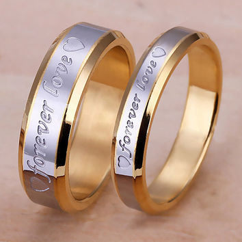 Women Men Forever Love Band Ring Engagement Engraving Couple Promise Gold Plated  9ZRB