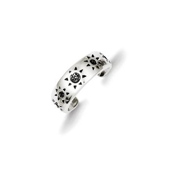 Sterling Silver Antiqued Sun Toe Ring