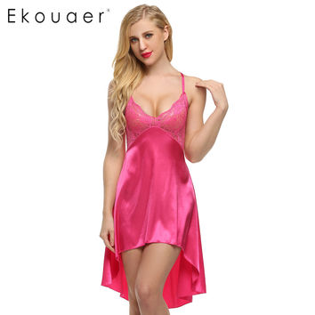 Ladies Sexy Satin Night Dress Lace Women Sleepwear Sleeveless Nighties V-neck Nightdress Sexy Nightgown Hot 6 colors