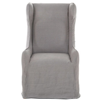 Duncan Linen Wingback Dining Chair, Gray, Side Chairs