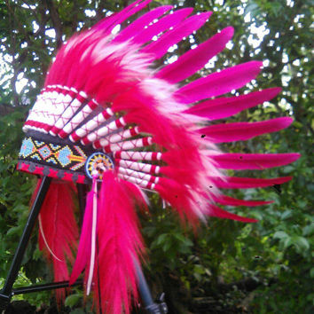 SALE Red Pink Baby Indian Headdress, Baby Headdress, Toddler Indian Headdress, Toddler Warbonnet, first birthday,tee pee party,pow wow