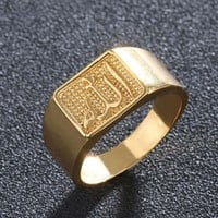 SONYA New Brand Muslim Allah Ring For Women Men Islam Arabic God Messager Black Gold Band Muhammad Quran Middle Eastern