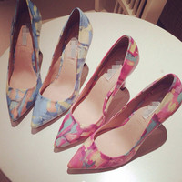 Korean Print Pointed Toe Club High Heel Low-cut Shoes [4920462276]