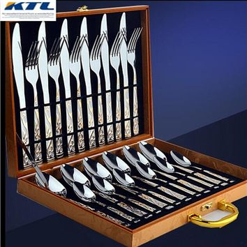 24 Pcs Golden Dinnerware Set Top Stainless Steel Dinner Knife And Fork Cutlery Set With Gift Box