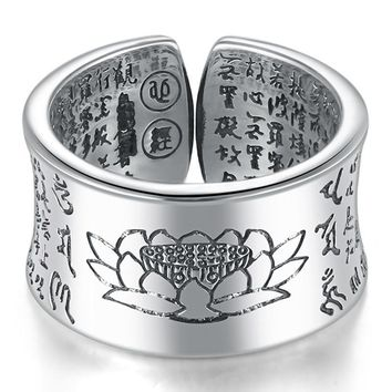 Women's 999 Silver Ring-  Lotus Buddhist Adjustable Ring For Women