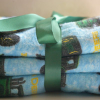 Baby boy burp cloths set of three John Deere
