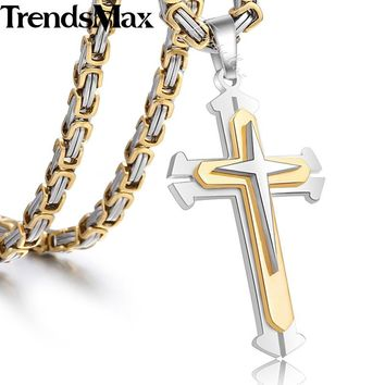 Men's Cross Necklace Gold Silver Black Cross Pendant Stainless Steel Byzantine Chain Necklace Hip Hop Male Jewelry KP180
