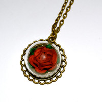 Red Rose Necklace, Glass Dome Pendant, Deep Red Rose, Glass Ball Necklace, Flower Pendant, Rose Jewelry, Scarlet Rose Necklace, Glass Globe