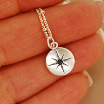 Compass Rose with Sapphire Necklace