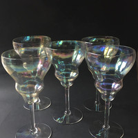 Iridescent Crystal Wine Glasses, Set of 5 Fostoria Iridescent Crystal Stemware