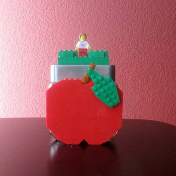 LEGO Apple Teacher Appreciation Birthday Gift.Lego Candy Jar.Lego Apple.LEGO Teacher Gift.LEGO theme Birthday Gift.Centerpiece.Home Décor.