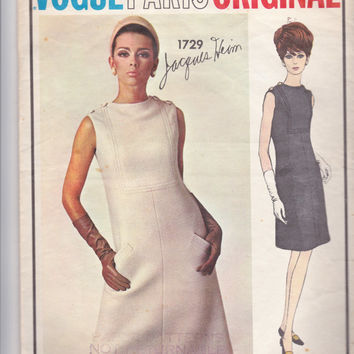 60s JACQUES HEIM Fitted Dress Pattern Vogue Paris Original 1729 Size 14 inches Bust 34 Inches