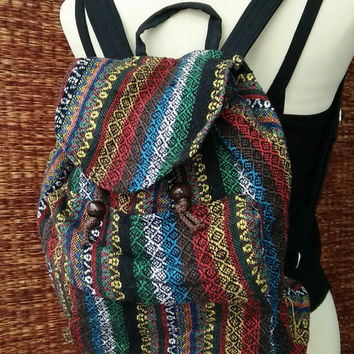 Festival Backpack Tribal Boho Hill tribe Styles Hmong fabric Ethnic ikat design Fashion Overnight travel bag Hippies life folk in green Red
