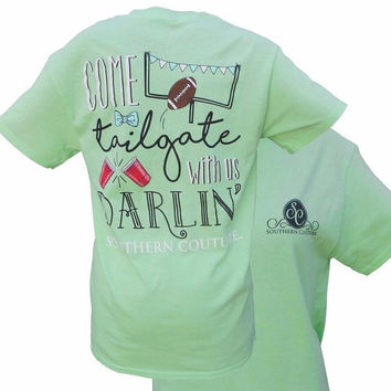 Southern Couture Preppy Come Tailgate With Us Football Mint T-Shirt