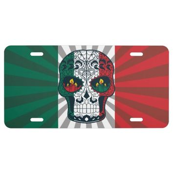 Mexican Flag Colors Day Of The Dead Sugar Skull License Plate