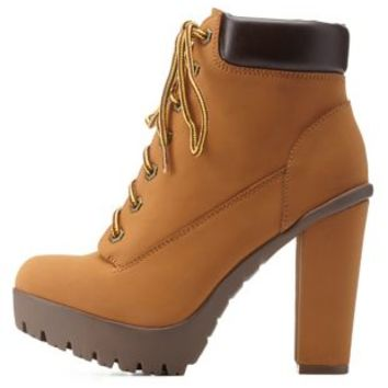 Camel Lace-Up Chunky Heel Work Boots by Charlotte Russe