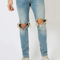 Light Wash Blue Extreme Ripped Stretch Skinny Jeans | Topman