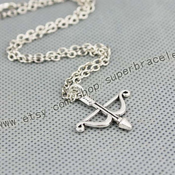 Bow and arrow necklace, Antique Silver necklace, necklace, daily handmade necklace, Silver charm necklace