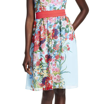 Painted Floral Party Dress - Adrianna Papell