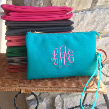 Monogram TURQUOISE Purse Wristlet Wallet Leather like Font shown MASTER CIRCLE in bubble gum pink