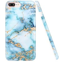 iPhone 7 Plus Case, LUOLNH Blue and gold Marble Design Slim Shockproof Flexible Soft Silicone Rubber TPU Bumper Cover Skin Case for iPhone 7 Plus 5.5 inch