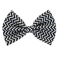 Black And White Chevron Hair Bow