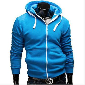 2018 male zipper hooded fleece color letters Fashion pure color fleece