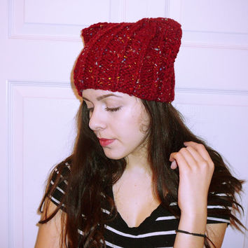 Red cat hat, chunky ear hat, knitted cat hat, kitty hat, cat ear beanie, ear cap, stylish women hat, warm cap, trendy knits