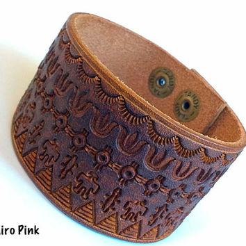 Leather Cuff Bracelet Hand Stamped Native American Indian Design