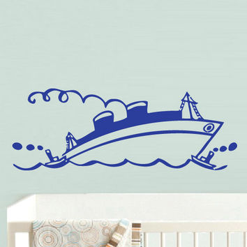 rvz768 Wall Decal Vinyl Sticker Nursery Kids Baby Ship Boat Sea Ocean