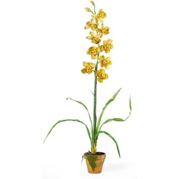 SheilaShrubs.com: Yellow Cymbididium w/Moss Pot Silk Orchid Arrangement 4058-YL by Nearly Natural : Artificial Flowers & Plants