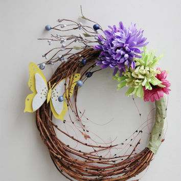 Spring flowers wreath, butterfly and flowers wreath, colourful spring and summer wreath, boho decor, rustic decor wreath for door or wall