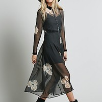 Free People Womens Girl Meets Boy Dress - Charcoal Combo