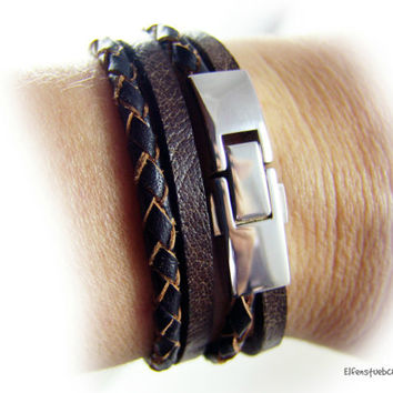 bracelet unisex dark brown leather  silver stainless steel - for him - for her - for couples - handcrafted - made to measure