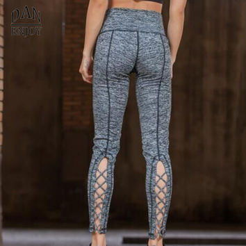 New Yoga Pants Women Tights Sport  Fitness Running Workout Leggings Quick Dry Elastic Trousers  Cutout Tie Cuff Slim