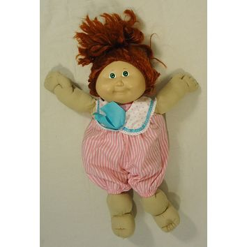 Cabbage Patch Kids 012-30cp Vintage Doll Pink Jumpsuit Plastic Fabric -- Used