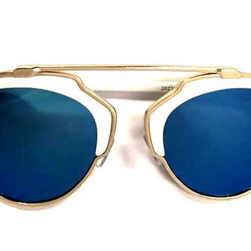 I'm Famous Sunnies-White/Mirrored Blue